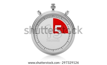 Silver chronometer set on 15 seconds, isolated on white - stock photo