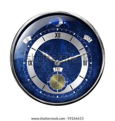 Silver clock isolated on white - stock photo