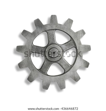 Silver Cog on White Background with shadow