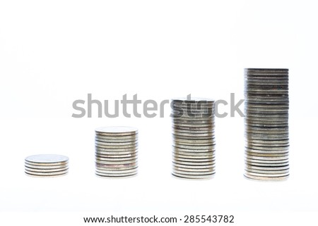 silver coin stack isolated on white background