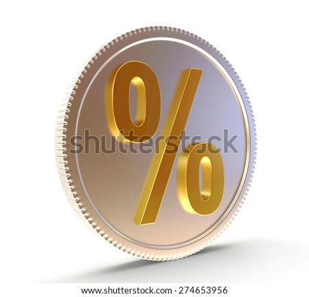 Silver coin with a golden percent sign isolated on white background - stock photo