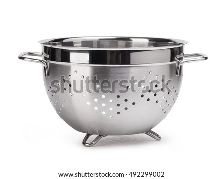 silver colander isolated on white