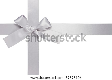 silver colore cross ribbon with bow isolated on white background - stock photo