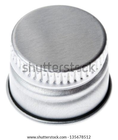 Silver colored aluminum cap, Shot from a slightly high angle. Isolated on white background. - stock photo