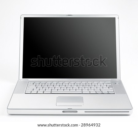 Silver coloured designer lap top taken from a low angle in-front - stock photo
