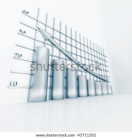silver columns of diagram with arrow rising upwards - stock photo