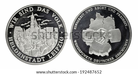 Silver commemorative coins day division of Germany - stock photo