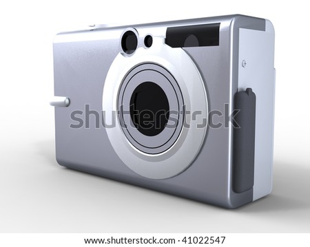 Silver compact digital camera isolated