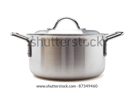 Silver cooking pot from low perspective isolated on white. - stock photo