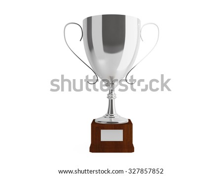 Silver cup for second place, isolated.Clipping path included - stock photo
