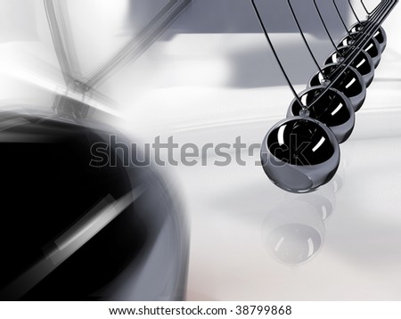 Silver 3d pendulum. Balancing balls Newton's cradle in action over mirror - stock photo