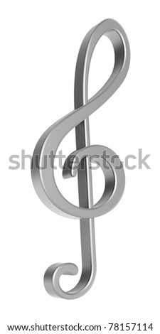 Silver 3D treble clef over white background - stock photo