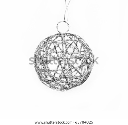 Silver decoration ball for cristmas tree - stock photo
