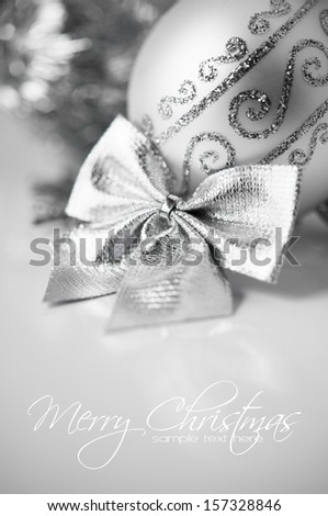 Silver decoration, xmas card with copy space - stock photo