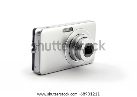 silver digital compact photo camera isolated on white background - stock photo