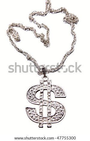 Silver dollar-symbol necklace - stock photo