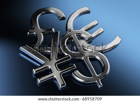 silver dollar, yen or yuan, pound, euro signs over a blue background - stock photo