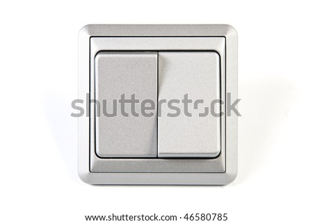 silver double light switch - stock photo