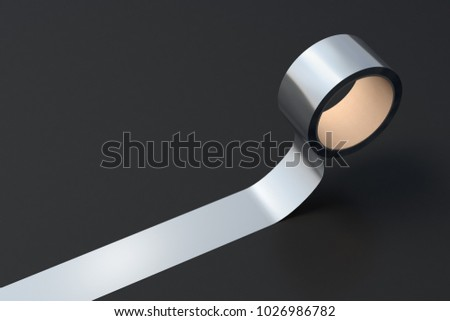 Silver duct tape roll on black background. 3d illustration.