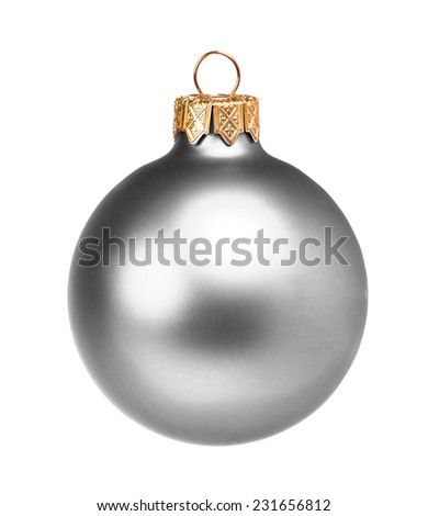 Silver dull christmas ball on white background - stock photo