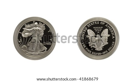 Silver Eagle proof coin - stock photo