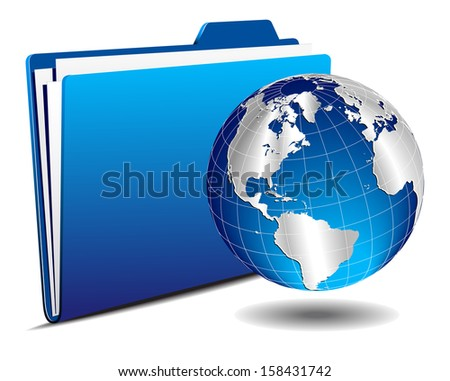Silver Earth Globe with Folder - Raster version - stock photo