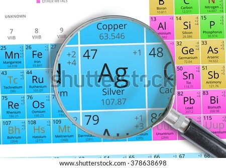 Silver element mendeleev periodic table magnified stock photo edit silver element of mendeleev periodic table magnified with magnifying glass urtaz Images