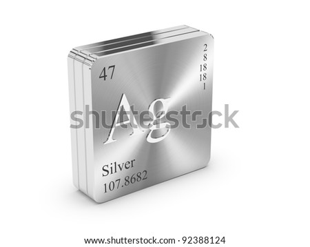 Silver - element of the periodic table on metal steel block - stock photo