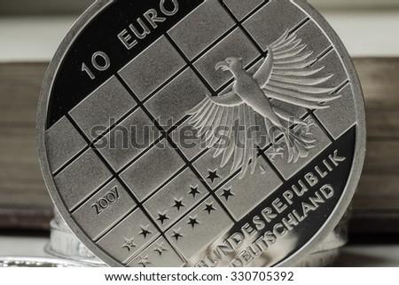 Silver euro - stock photo