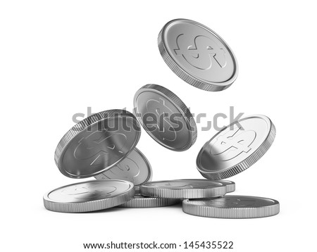 silver falling coins isolated on white background - stock photo