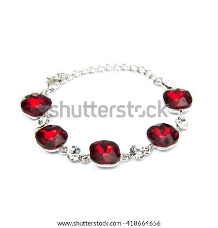 Silver Fashion Bracelet with ruby isolated on white - stock photo