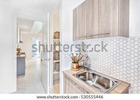Silver faucet with a sink on a wooden counter under the pantry cupboard beside gold color and shiny vase there is a part of a laundry room and an entrance door through the hallway to the outside