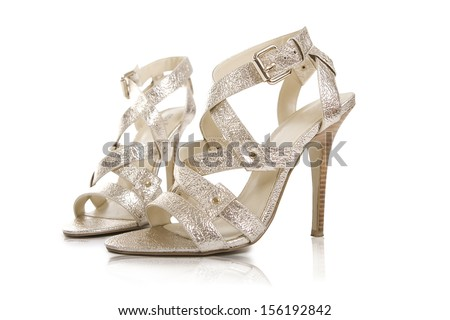 silver female shoes isolated on a white background