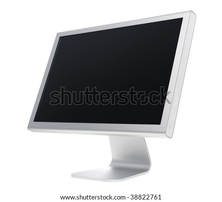 Silver flat panel monitor, isolated on white with clipping path.