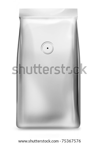 silver foil bag with valve - stock photo