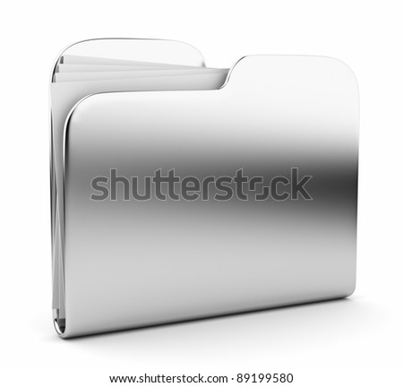 Silver folder. File 3D.  Icon isolated on white background - stock photo