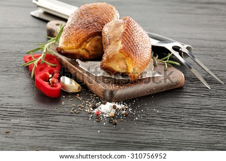 silver fork and duck  - stock photo