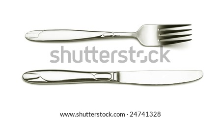 Silver fork and knife on white background. - stock photo