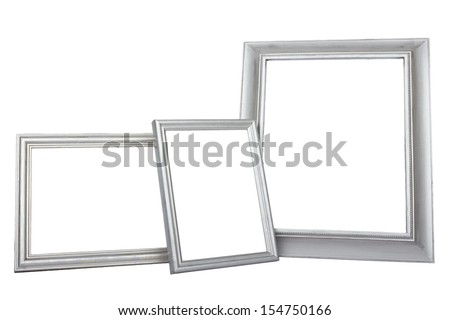 silver frames on white background isolated on white background - stock photo