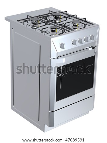 Silver free standing cooker. Computer generated 3D photo rendering. - stock photo