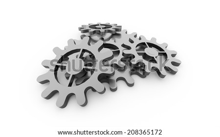 Silver gears mechanism concept rendered