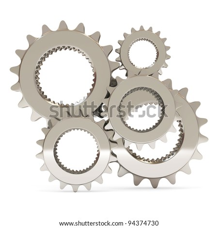 Silver Gears on white background - stock photo