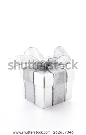Silver gift box isolated on white background