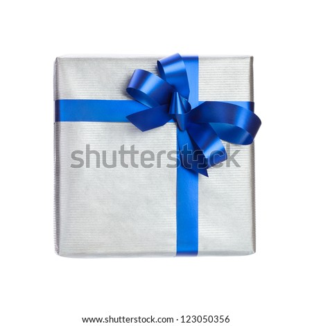 silver gift box with blue ribbon on white background - stock photo