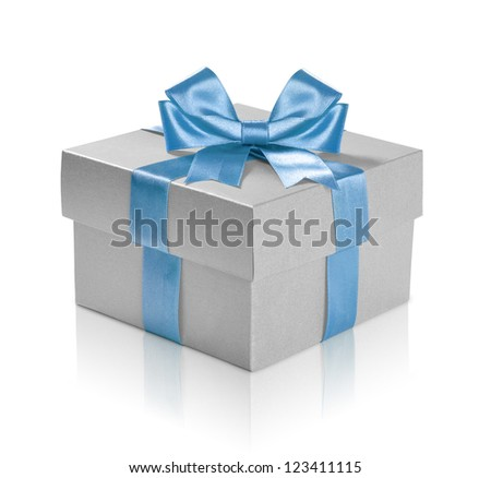 Silver gift box with blue ribbon over white background. Clipping path included.