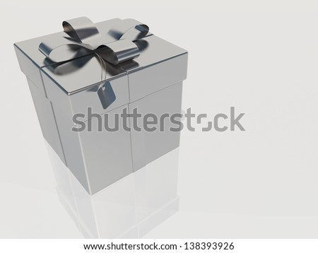 Silver gift box with ribbon and bow - stock photo
