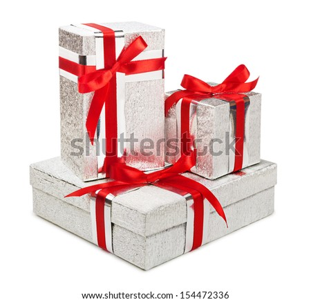 Silver gift boxes isolated on white background - stock photo