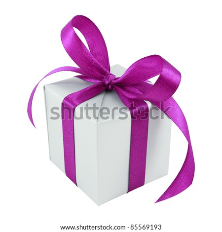 Silver gift wrapped present with purple satin bow isolated on white - stock photo