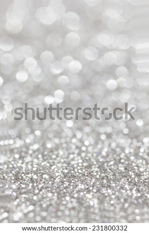 Silver Glitter for Christmas Background with Blurred Lights. - stock photo