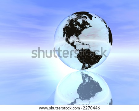 silver globe in blue background - stock photo